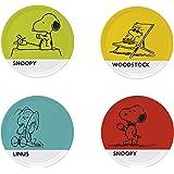 Excelsa Peanuts Set 4 Piatti Pizza, Porcellana, Multicolore, 4 Pezzi