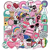 Wingsflying 60 Pcs Cute Lovely Laptop Stickers Water Bottle Skateboard Motorcycle Phone Bicycle Luggage Guitar Bike Sticker Decal for Girl Pink