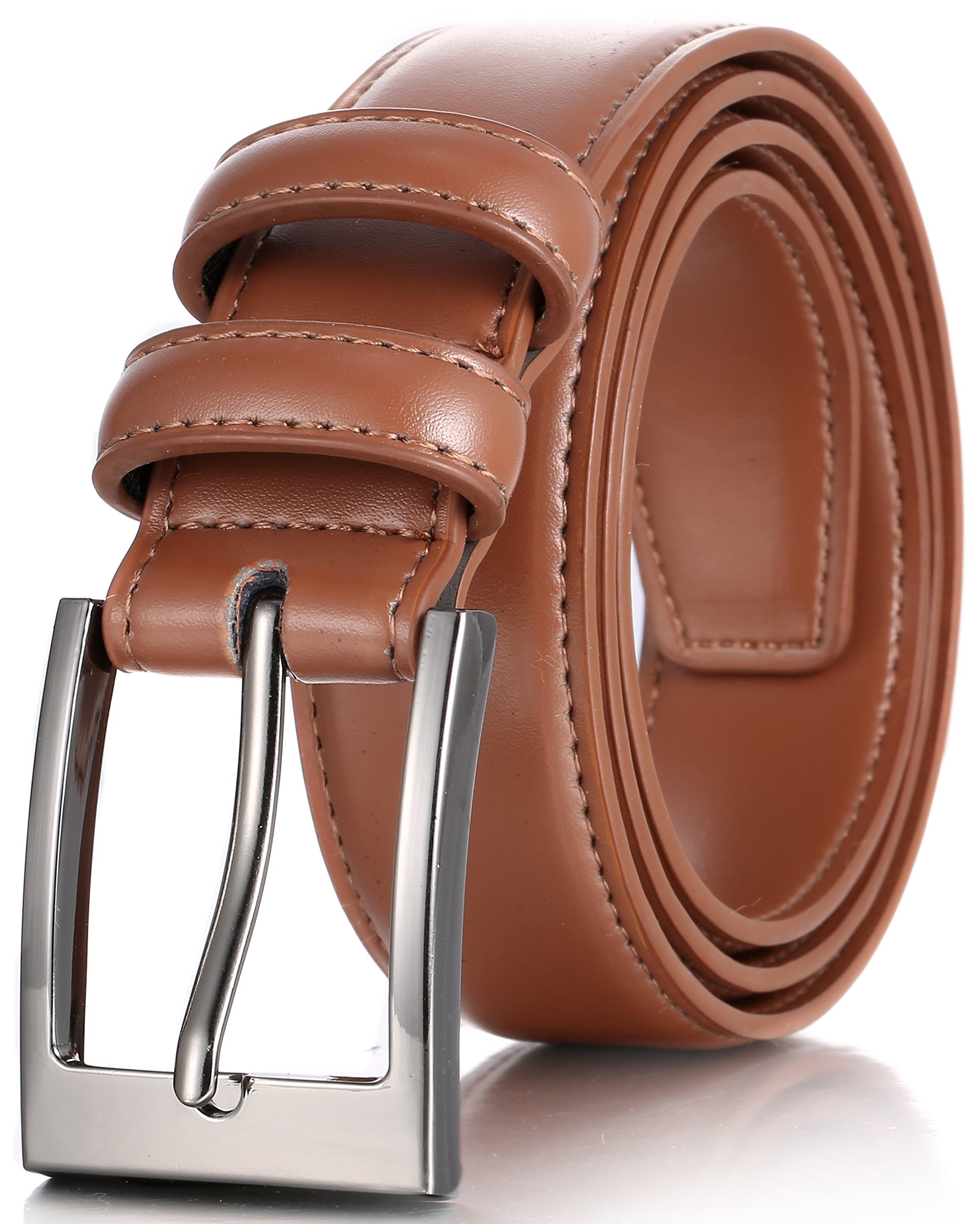 Marino's Men Genuine Leather Dress Belt with Single Prong Buckle - Tan - 34