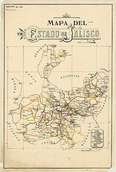 Amazon.com: Historic Map | Jalisco, Mexico 1923 | Mapa del estado de on