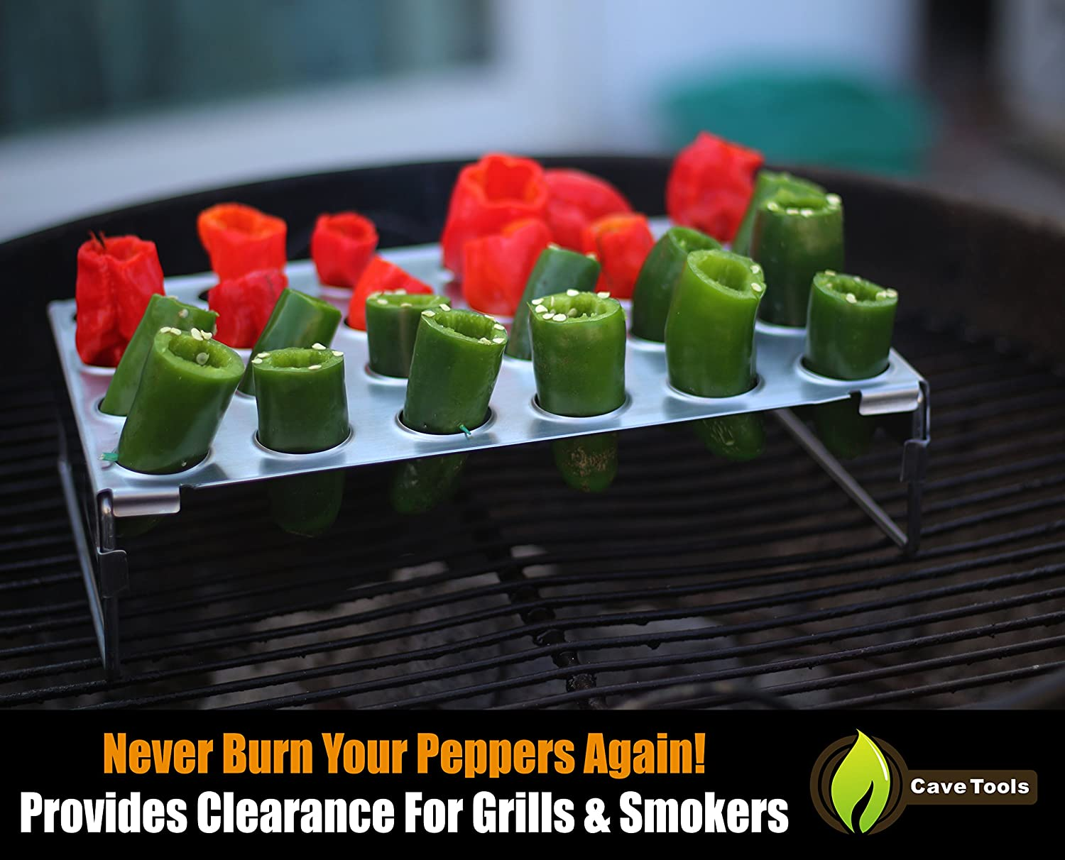 Jalapeno Grill Rack & Pepper Corer Tool - Large 24 Capacity Roaster - Holder Also For Cooking Chili or Chicken Legs & Wings Roasting on BBQ Smoker or Oven - Dishwasher Safe Stainless Steel Accessories : Garden & Outdoor