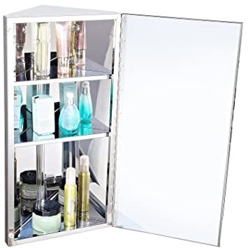 Homcom Stainless Steel Wall mounted Bathroom Corner Mirror Storage ...