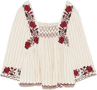 ZARA - Camisas - para mujer beige L: Amazon.es: Ropa y accesorios