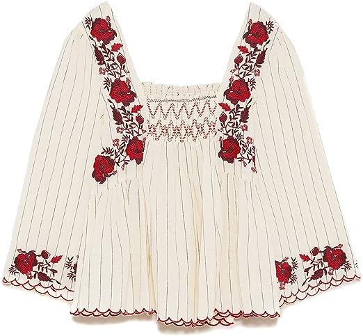 ZARA - Camisas - para mujer beige L: Amazon.es: Ropa y ...