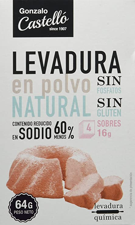 Gonzalo Castelló Levadura en Polvo - Paquete de 8 x 64 gr - Total: 512 gr