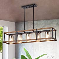 Overstock.com deals on Desaki Imitation Wood Grain/Matte Black 5-light Chandelier