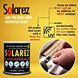 Solarez UV Dual Cure, Low-VOC Clear Polyester Resin (4 Oz) ~ Clear Laminating Resin - No Waiting! for Custom Woodworking, Surfboards, Marine, Auto, Hobby ~ Eco-Friendly ~ Made in The USA