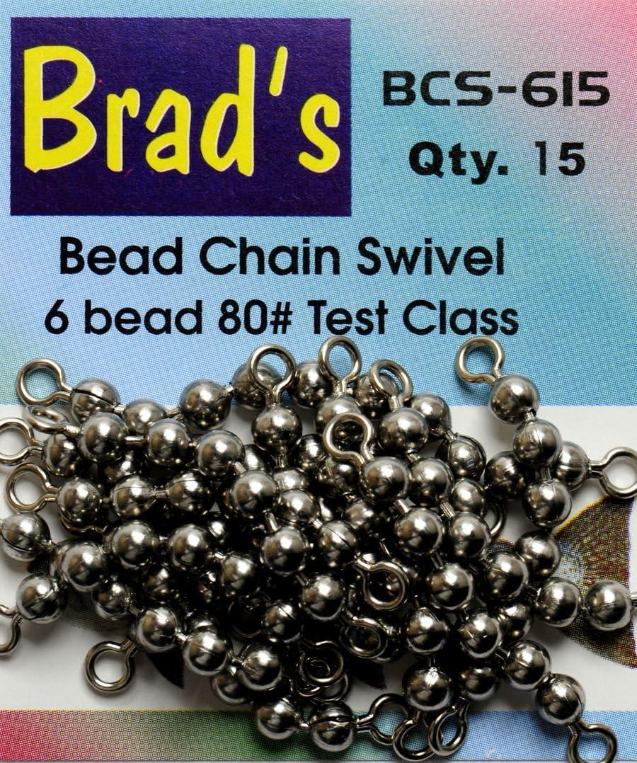 NEW Brads Killer Fishing Gear Chain Swivels Pack of 15 1 8 Inch 4 Bead