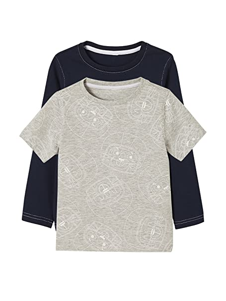 VERTBAUDET Lote de 2 Camisetas Estampadas para niño de Manga Corta + Manga Larga Azul Oscuro