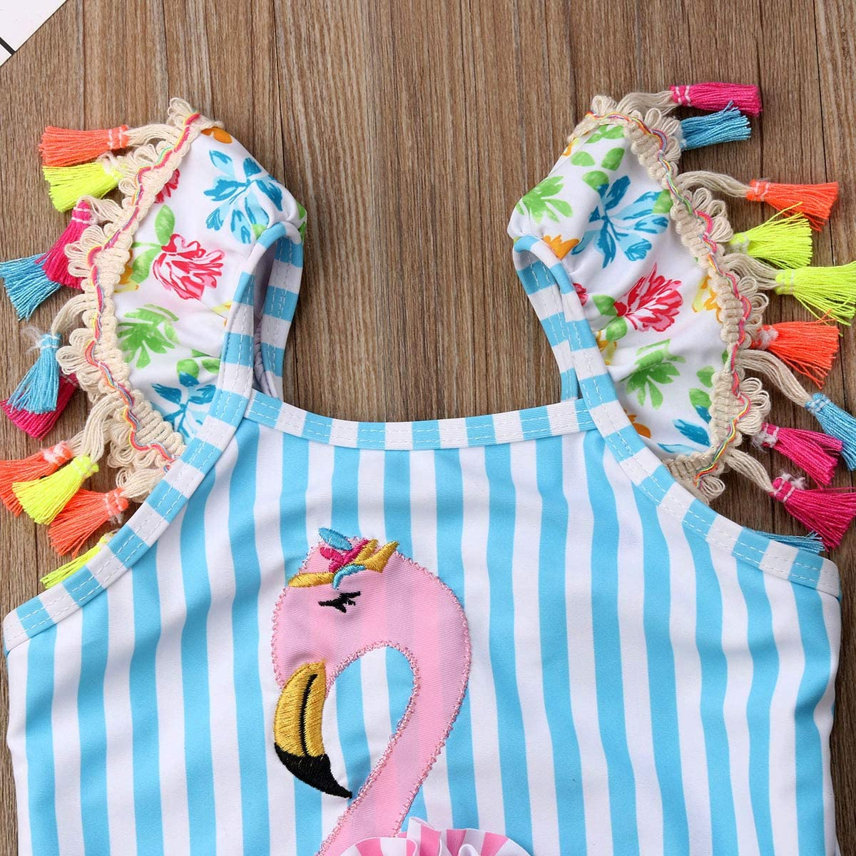 Baby Girl Ruffle Swimsuit One-Piece Bathing Suit Cute Parrot Bikini Toddler Swimwear Infant Beach Wear for Ages 0-24M