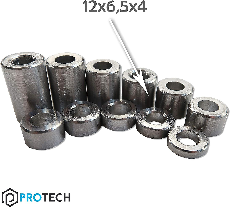 aus Aluminium Abstandsh/ülse Rohrbuchse Metallh/ülsen H/ülsen 50 St/ück PROTECH Distanzh/ülsen Alu 12x6,5x4