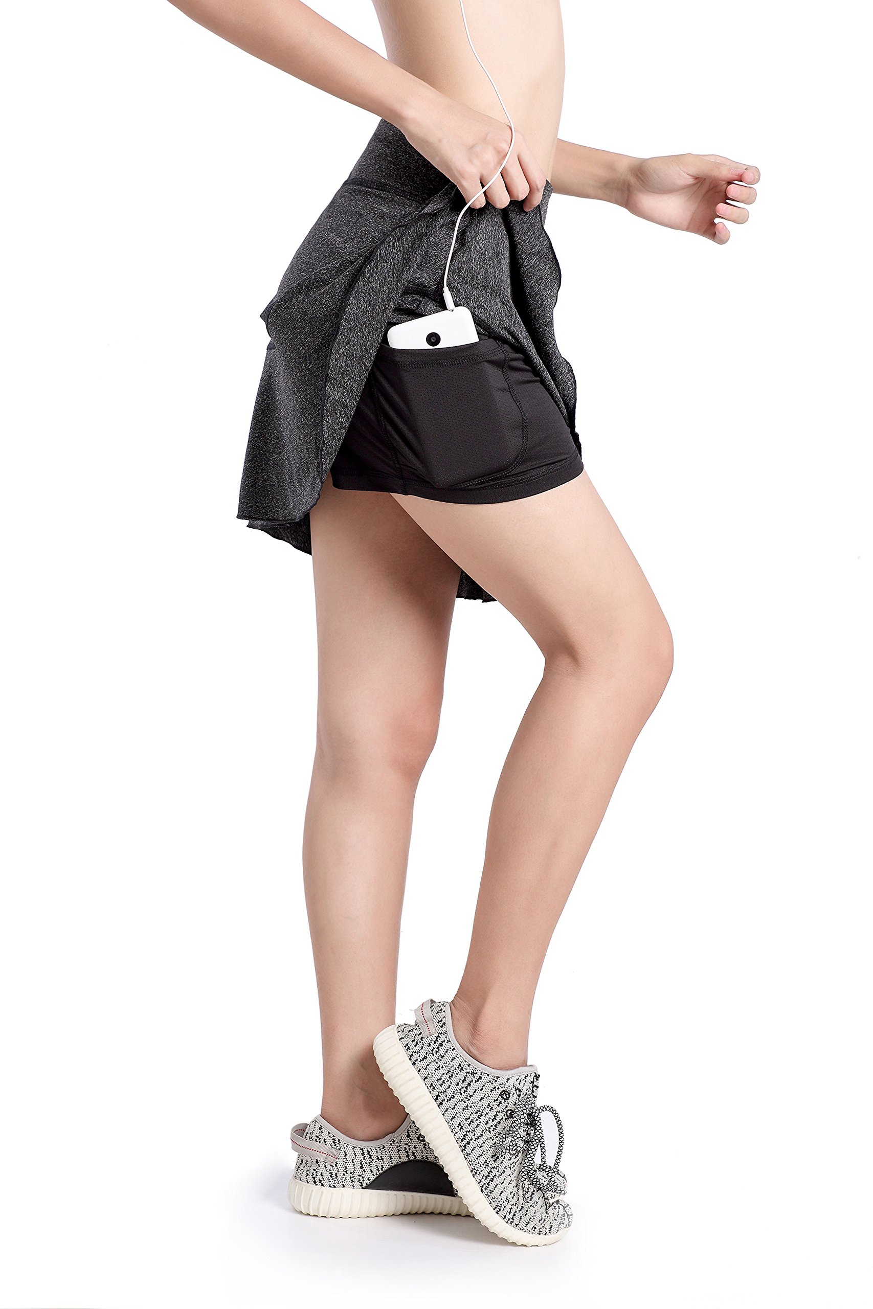 Annjoli Womens Running Golf Skorts Tennis Workout Skirt,for Athletic,Active Clothes (L, Gray .)
