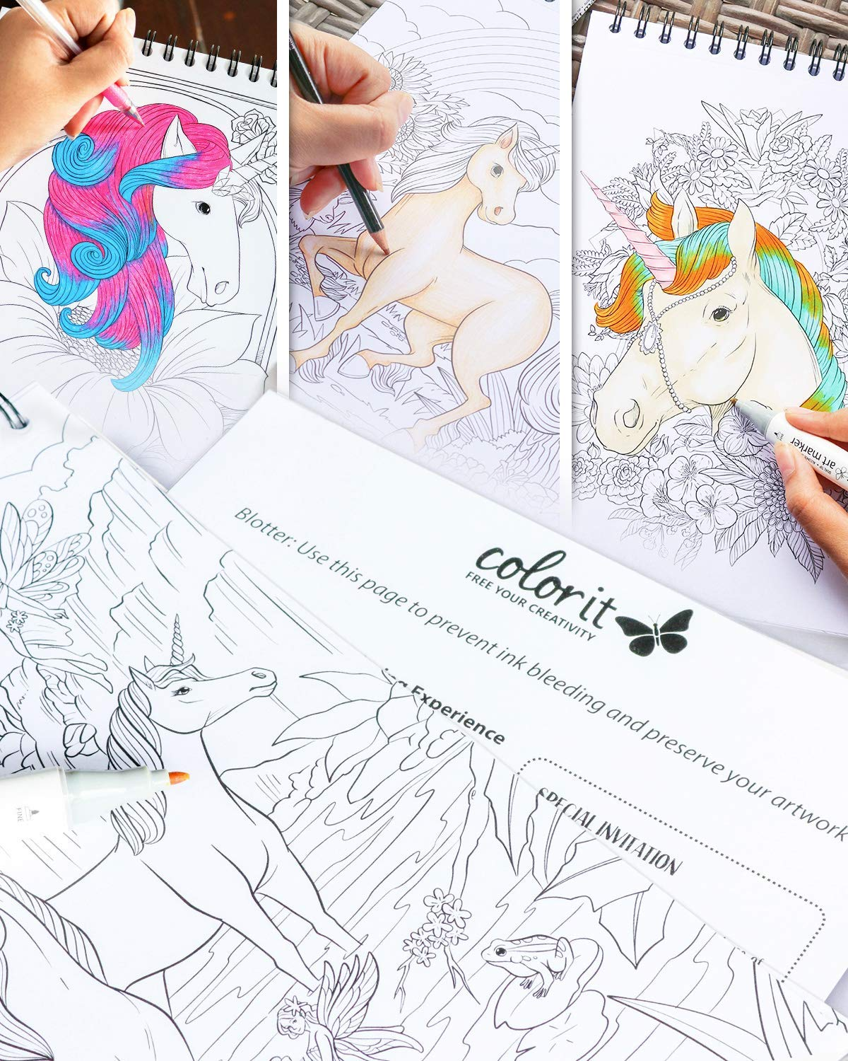 ColorIt Colorful Unicorns Adult Coloring Book - 50 Single-Sided Pages, Thick Smooth Paper, Lay Flat Hardback Covers… 5