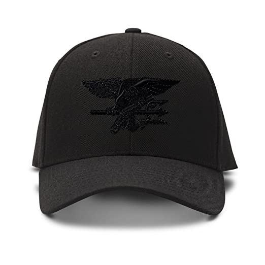 Navy Seal Black Logo Embroidered Unisex Adult Hook   Loop Acrylic  Adjustable Structured Baseball Hat Cap dfd3419154d2