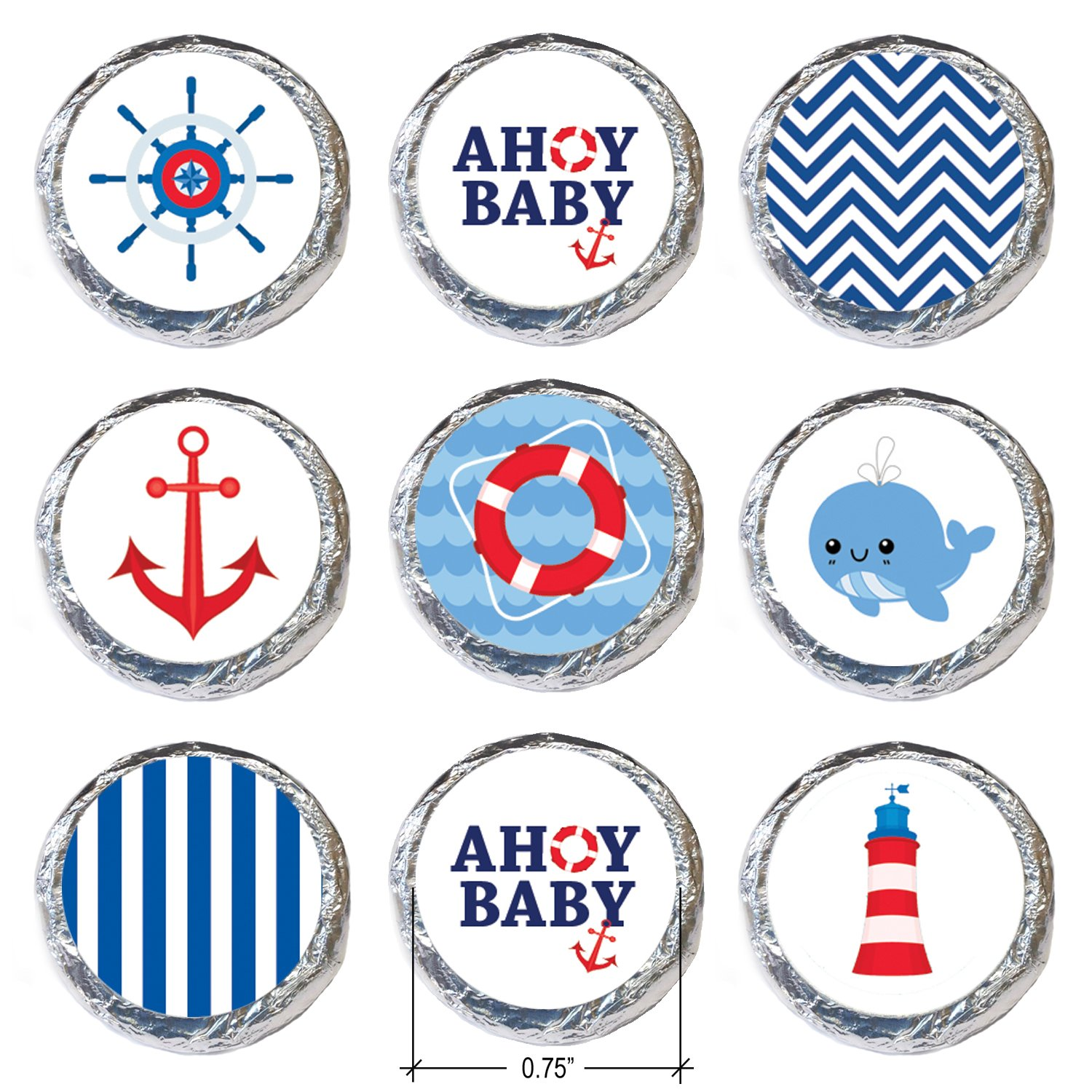 Amazon Nautical Ahoy Baby Shower Favor Stickers Set of 324