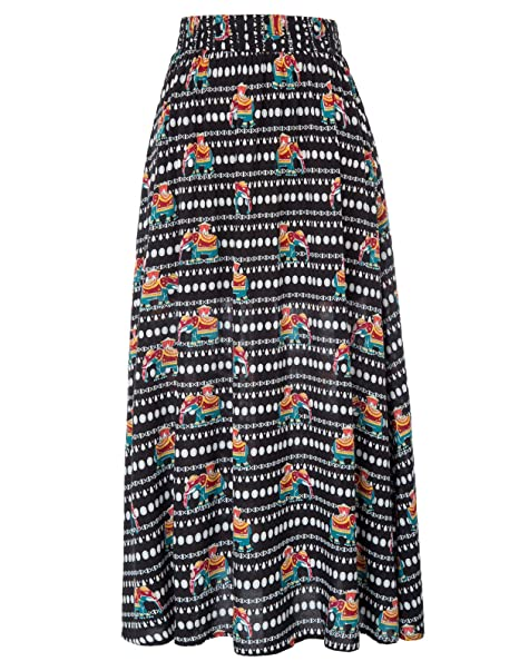 721a3b3727b Amazon.com  Kate Kasin Women Casual Floral Full Length Elastic Waist A-Line Long  Maxi Skirt KK919  Clothing