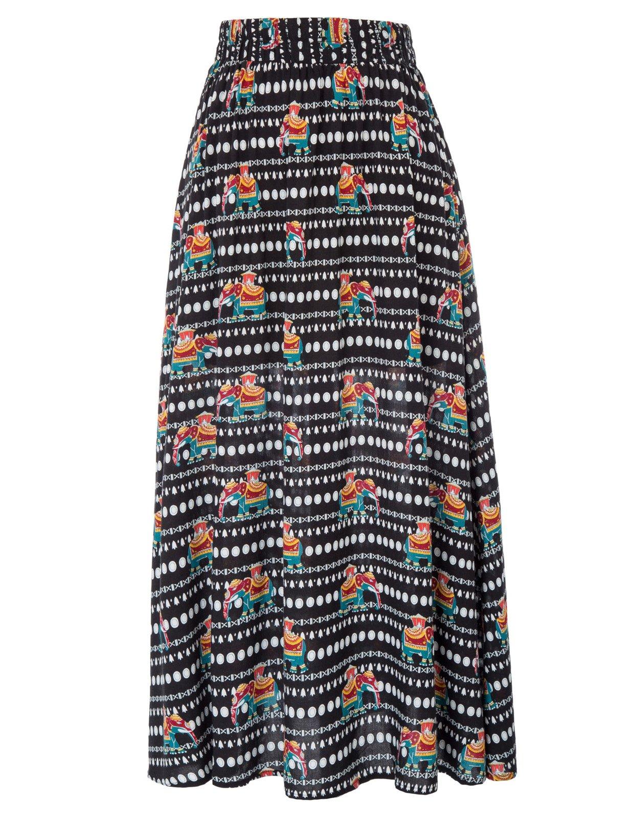 Vibrant Pattern Kate Kasin Women's African Maxi Skirt for Holiday L KK919-1