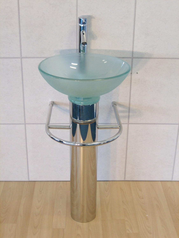 Bathroom Sink Glass Wash Basin Small Compact Clear Round 420 Inc ...