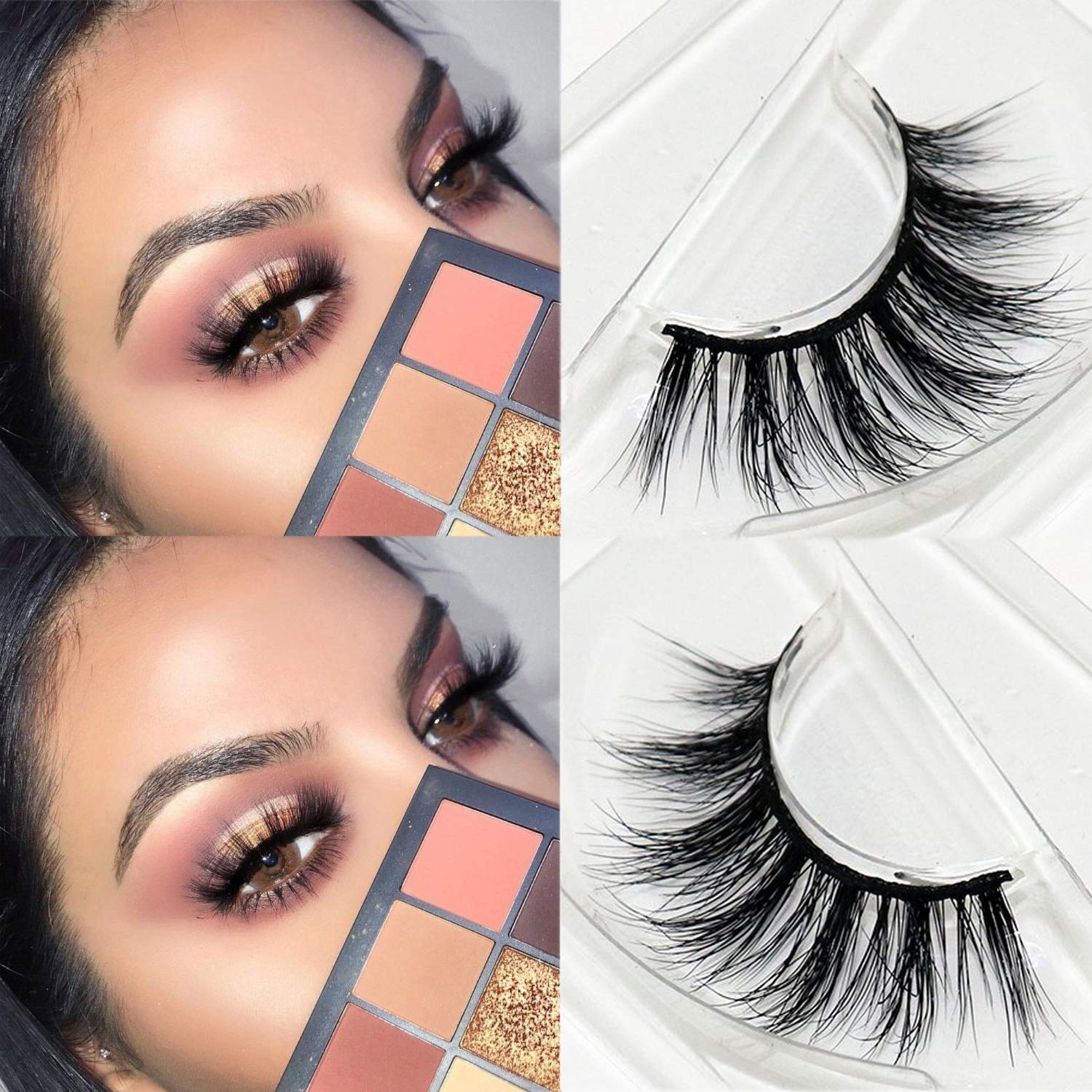 54367af2891 Amazon.com : Veleasha Lashes Top Quality 3D Mink Eyelashes 100% Hand-made  Natural Long Cross Fake Lashes for Makeup 1 Pair Pack (No.200) : Beauty