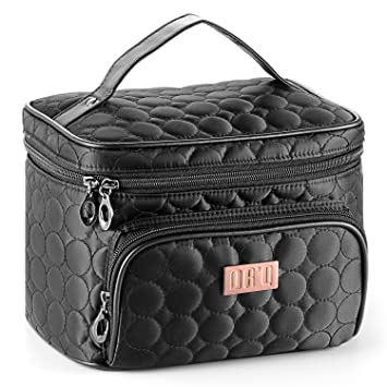 2459427647cd DRQ Travel Makeup Bag with Mirror-Multifunction Portable Toiletry Bag Large  Cosmetic Make up Pouch...