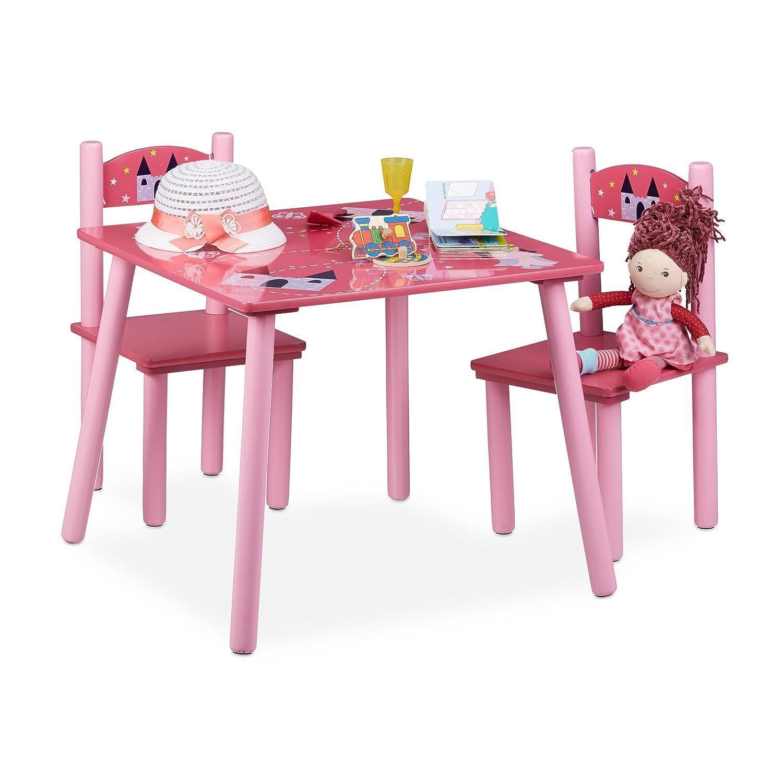 Relaxdays Ensemble table et chaises chambre d'enfants en bois FUNNY 1 table et 2 chaises pour les filles, rose 10020349 table-enfant-avec-chaise table-enfant-bois table-enfant-bois-avec-chaise