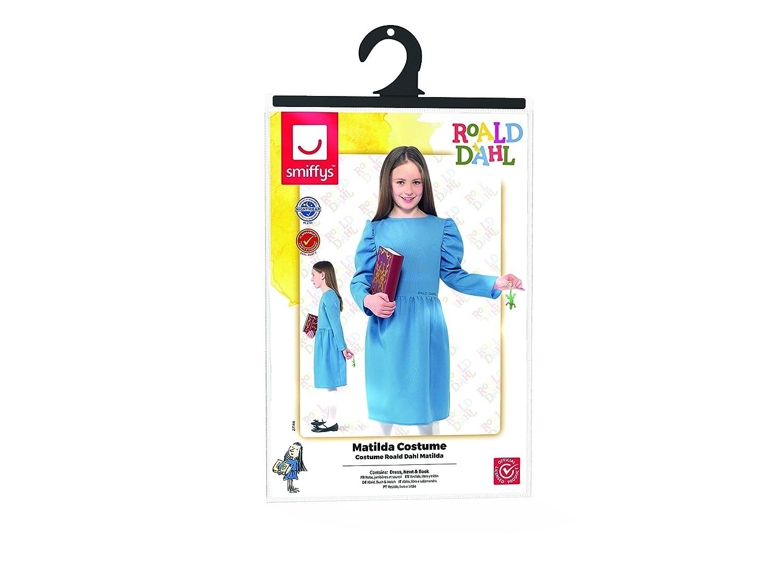 Girl Matilda Blue Bookworm Dress Film Book Week Kids Fancy Dress Costume Red Bow