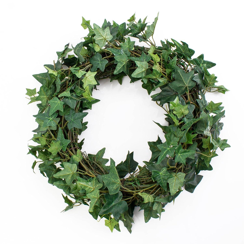 Couronne de lierre artificielle, socle en rotin, vert, Ø 35 cm - Couronne décorative / Lierre artificiel - artplants