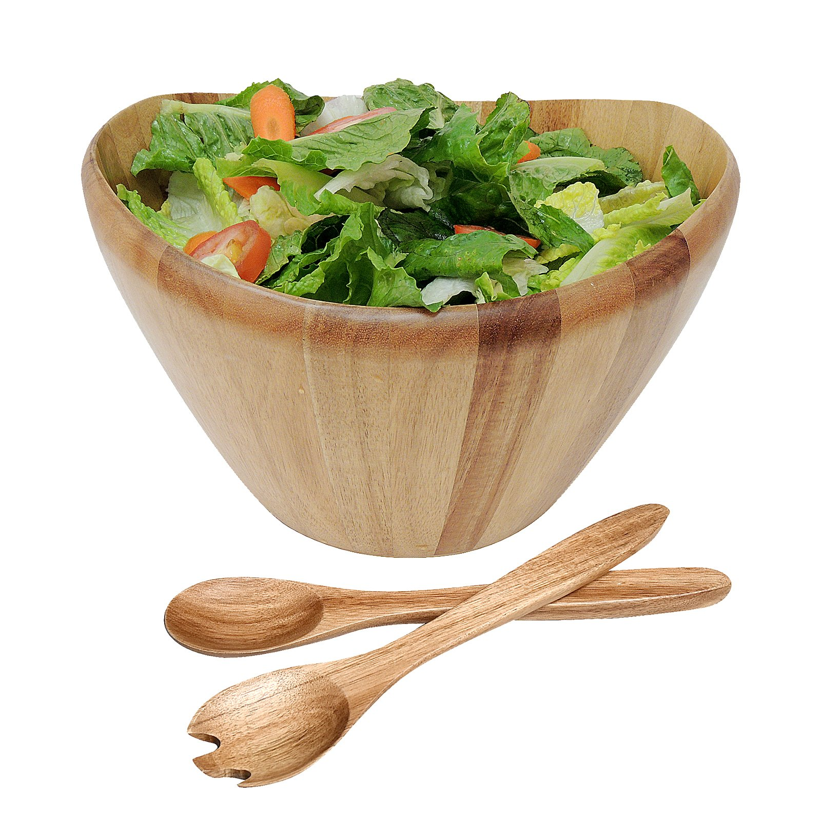 WELLAND 12'' Diameter Curved Bowl Acacia Wood Salad Bowls Salad Servers Set (style 2)