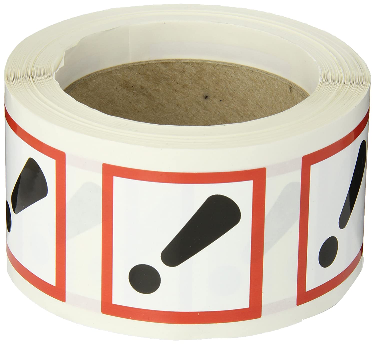 Adhesive-Poly Accuform LZH617EV2 GHS Pictogram Label Roll of 250 2 Length x 2 Width Red//Black on White EXCLAMATION MARK