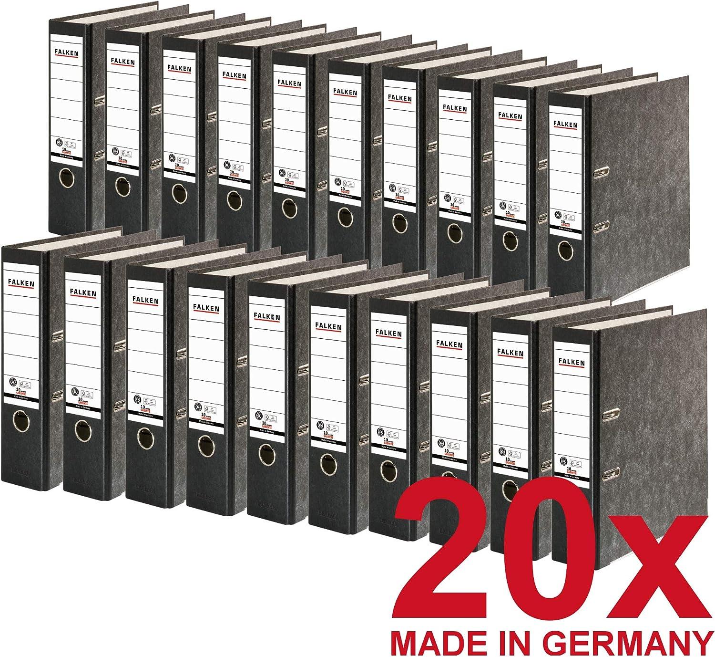 Original Falken 10er Pack Recycling-Ordner Wolkenmarmor 8 cm breit DIN A4 gelber R/ücken Ringordner Aktenordner Briefordner B/üroordner Pappordner Blauer Engel Made in Germany