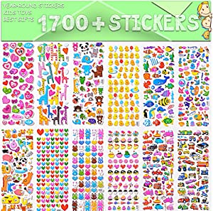 Sinceroduct Stickers 1700+ for Kids,Reward Stickers Variety Pack,3D Puffy Stickers,Scrapbooking,Bullet Journals,Stickers for Adult,32 xDesign Styles Including 3D Heart,Face,Star,Fish.Christmas Festi