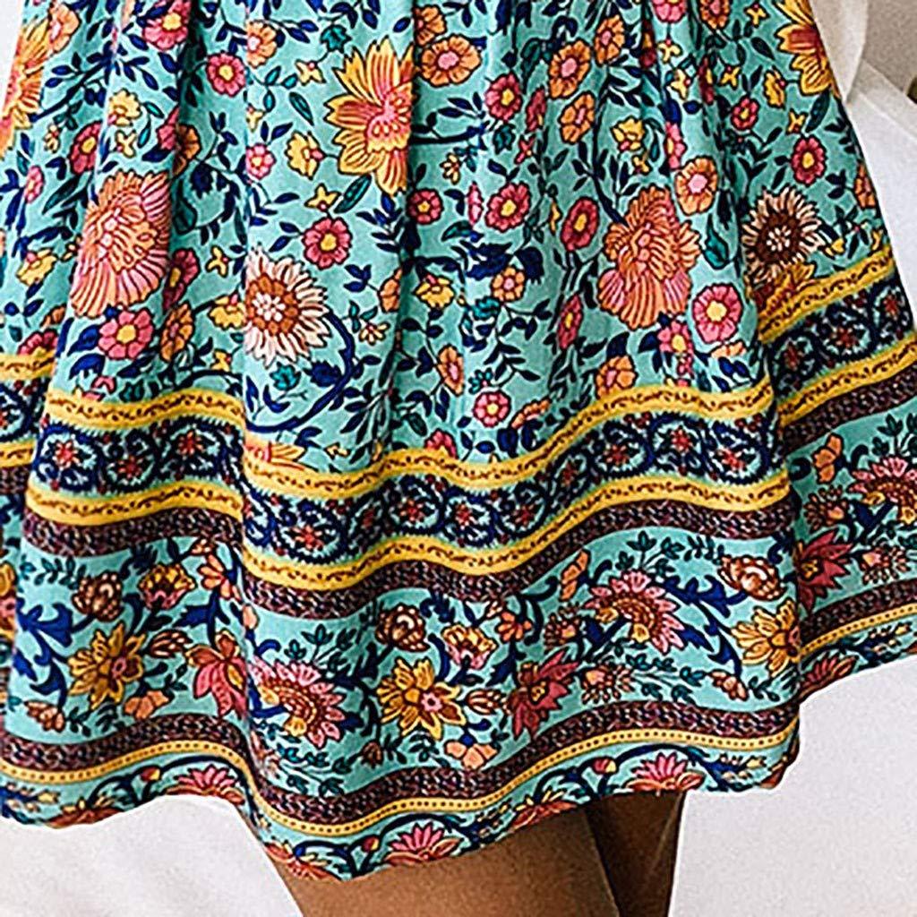 4Clovers Women/'s Boho Floral Print Sleeveless Jumpsuit Summer Wrap V Neck Ruffles Hem A Line Beach Mini Dress Romper