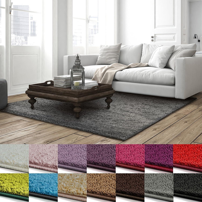 Casa pura Shaggy Teppich Barcelona   weicher Hochflor Teppich für Wohnzimmer, Schlafzimmer, Kinderzimmer   GUT-Siegel + Blauer Engel Größen   140x200 cm   Grau
