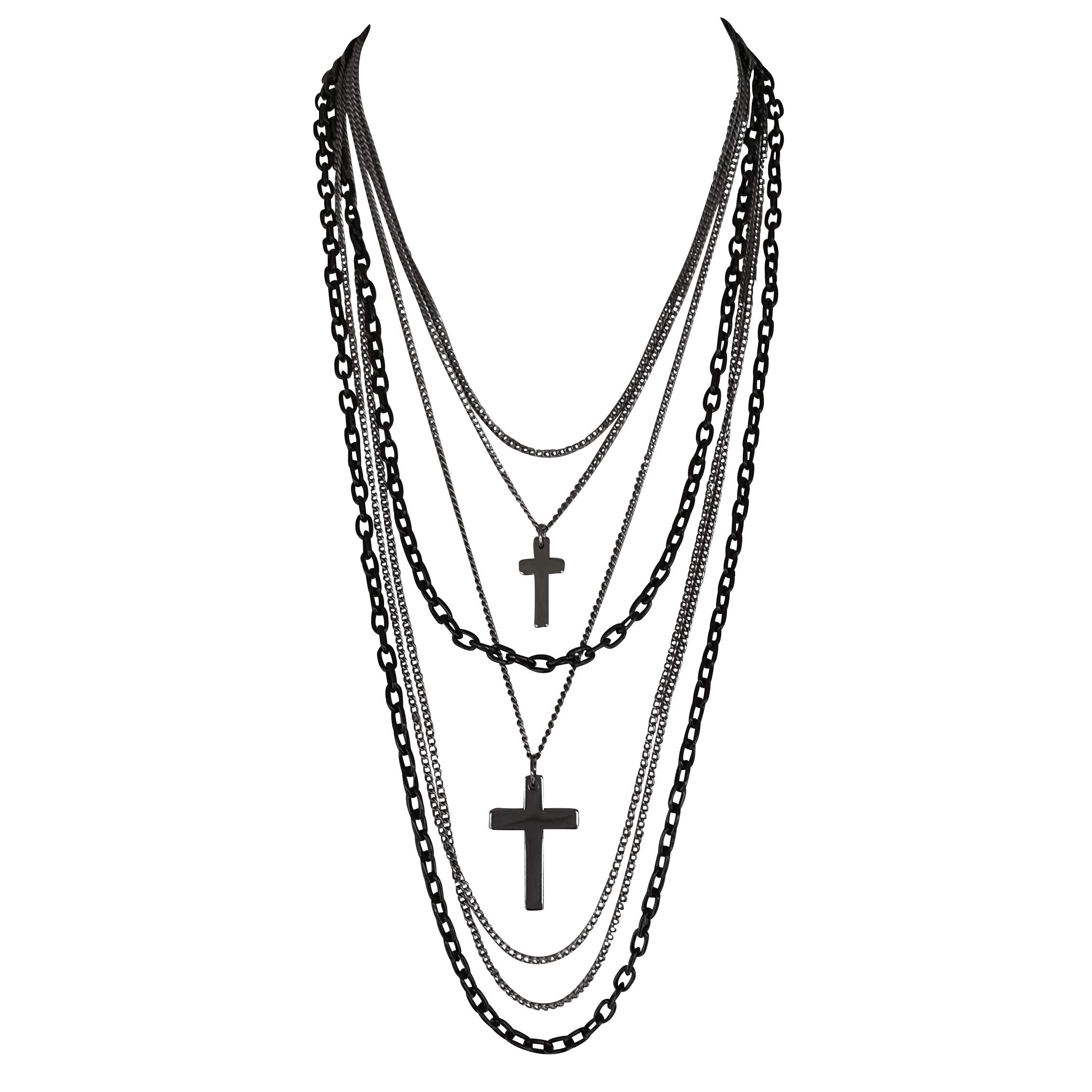 DragonWeave Multilayer Retro 80s Gothic Black and Gunmetal Chain Long Fashion Necklace with Crosses by DragonWeave