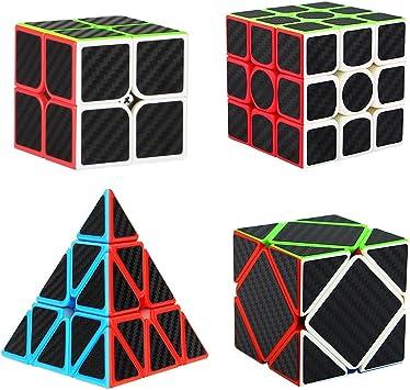Aiduy Puzzle Cubo Set Pyraminx + 2x2x2 + 3x3x3 + Skewb 4 Pack Cubo Magico con Pegatina de Fibra de Carbono Velocidad: Amazon.es: Juguetes y juegos