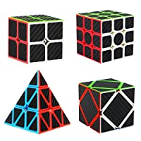 Speed Cube Bundle [4 Pack] 2x2 3x3 Pyramid Skewb Carbon Fiber Sticker Smooth Magic Cube Puzzle Toy