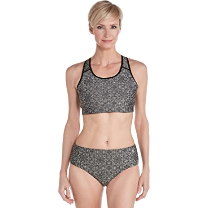 4ec38f9322d5b comCoolibar UPF 50+ Women s Medley Swim Bra - Sun Protective (X-Small-  Black Mosaic)