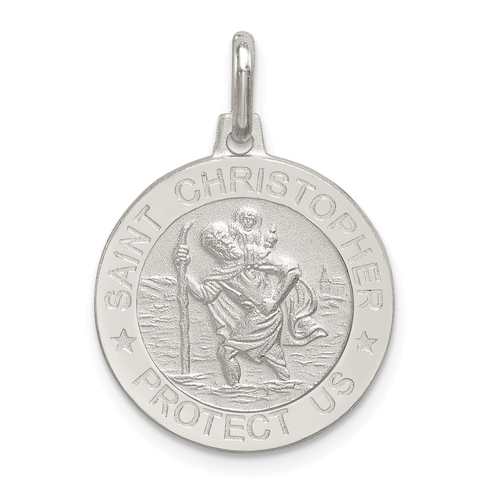 Round Solid Saint Christopher Protect Us Words On Nickel Size Disc Charm in 925 Sterling Silver 27x20mm