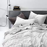 Grid Duvet Cover Set, 100% Cotton Bedding, Black Grid Geometric Modern Pattern Printed on White, with Zipper Closure (3pcs, Queen Size)