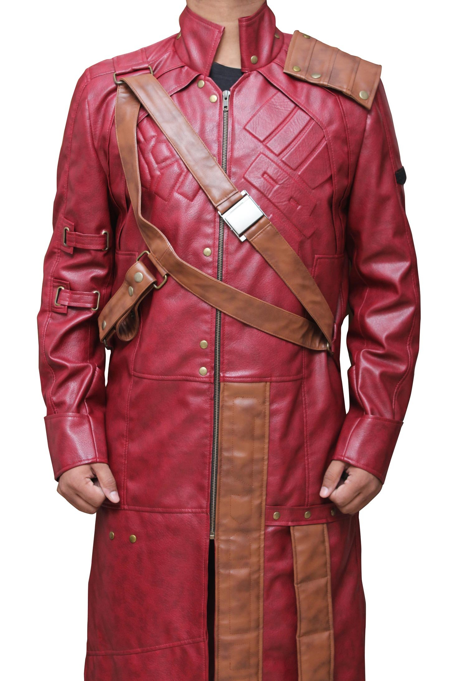 Star Lord Chris Pratt Long Costume - Cosplay Galaxy 1 Leather Coat PU | Maroon, L