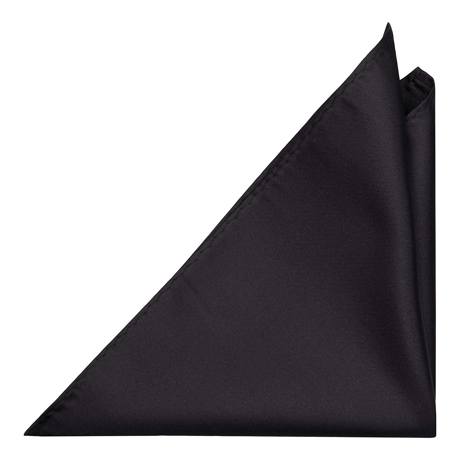 Woven Jacquard silk in solid black Notch Mens Silk Pocket Square