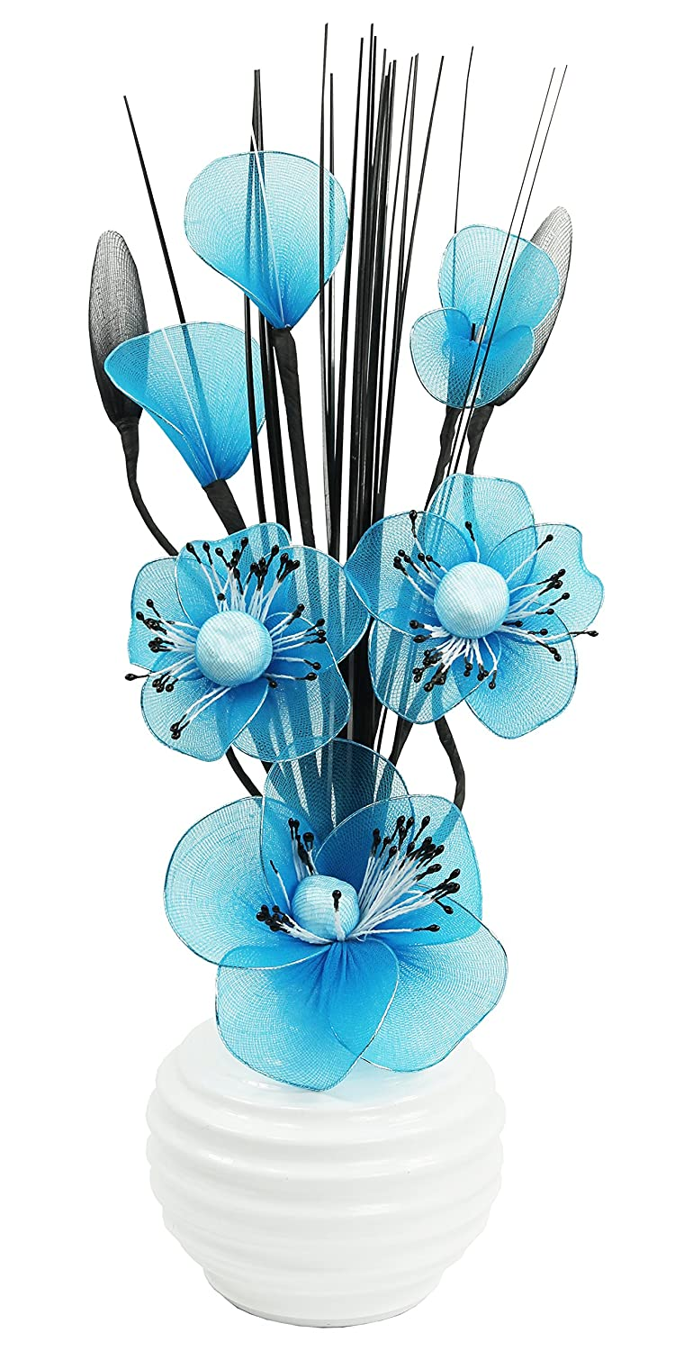 White Vase with Dark Teal Artificial Flowers, Ornaments for Living Room, Window Sill, Home Accessories, 32cm Flourish 794873
