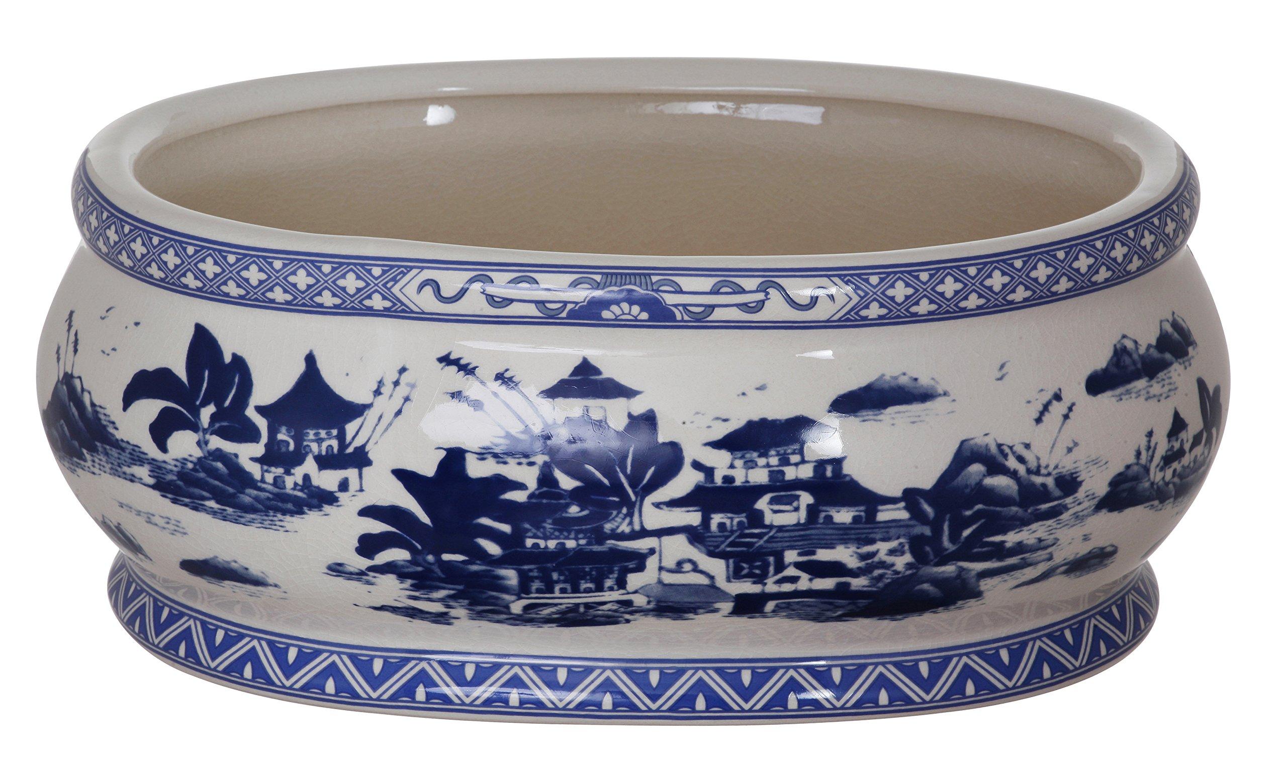 Winward Silks China Village Oval Planter, 14.5-Inch Wide, Blue