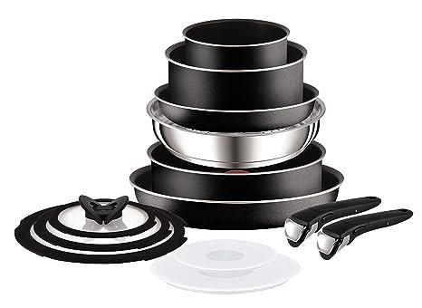Tefal Ingenio Essential - Batería de 13 sartenes, Color Negro