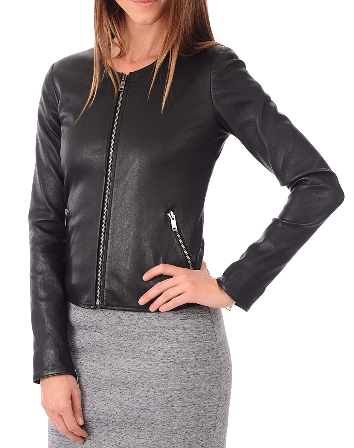 Black33 DOLLY LAMB 100% Leather Jacket for Women  Collarless Deep Neck & Slim Fit  Moto, Bomber, Biker Winter Casual Wear