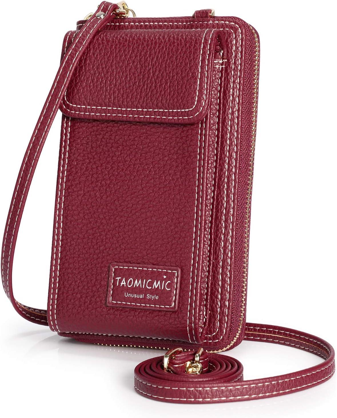 S-ZONE Mujer Pequeño Bolso de Cuero de la PU del teléfono Celular Crossbody Phone Wallet Bolsa Bolsa con Cremallera