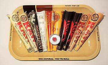 Raw bandeja – regalo de estilo pequeño de metal bandeja Rolling frente fumadores colección – 10
