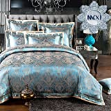 Sateen Duvet Cover Queen Size European Patterns Soft Silky Textile Generous Bedding Set by MKXI