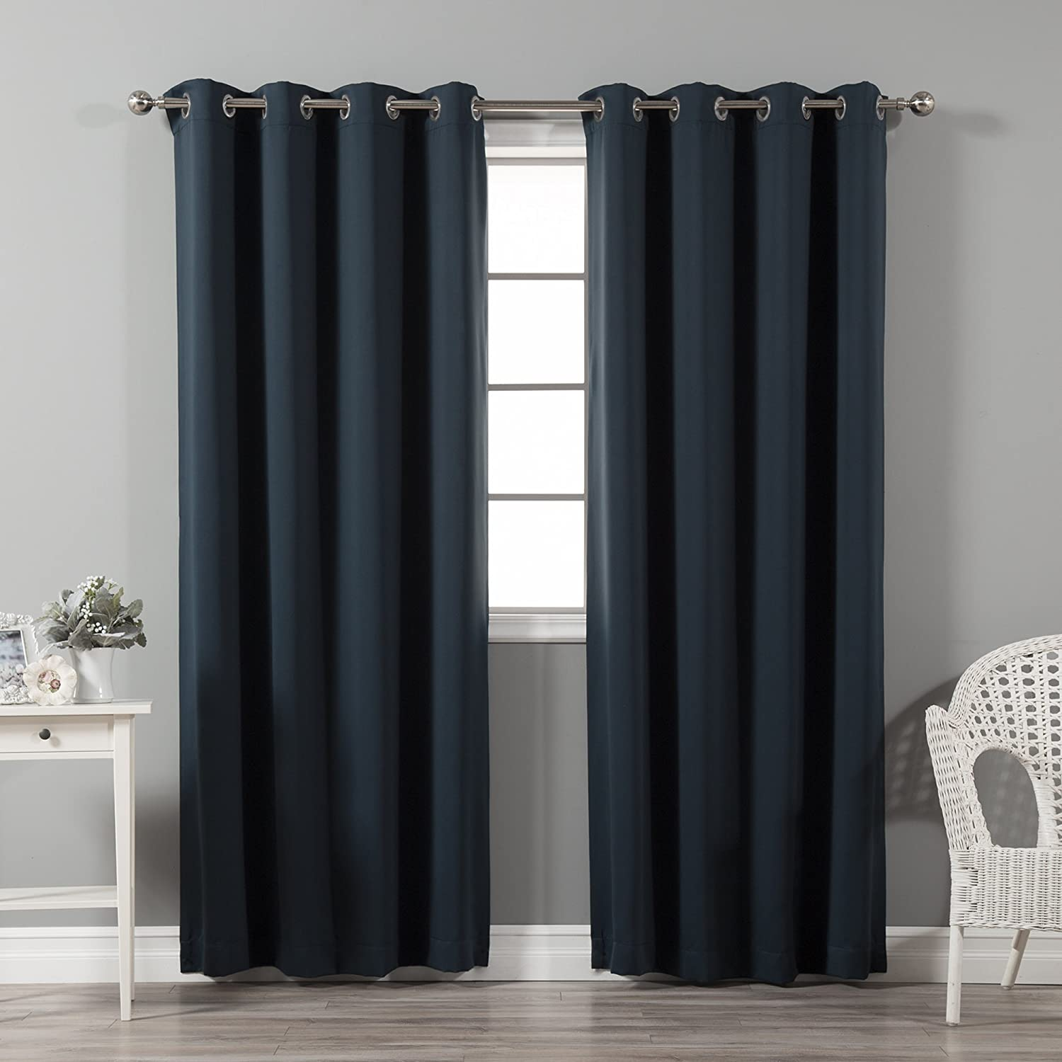 Best Home Fashion Thermal Insulated Blackout Curtains - Stainless steel nickel Grommet Top - Navy