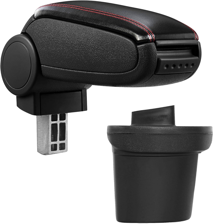 ProTec Car Apoyabrazos Perfekt Fit Center Console + Inkl. Cuero de imitación Caja de almacenamiento para negro costuras de color rojo (cubierta de cuero de imitación)